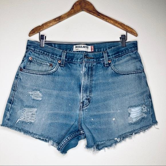 Levi's 505 Custom Distressed Denim Cutoff Shorts